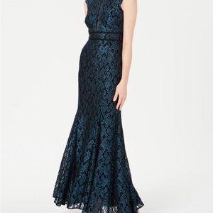 Nightway Mermaid style dark blue lace dress